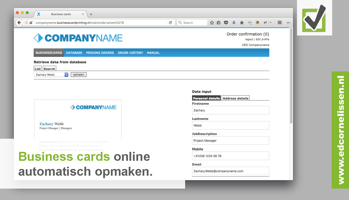 Online opmaak tool business cards